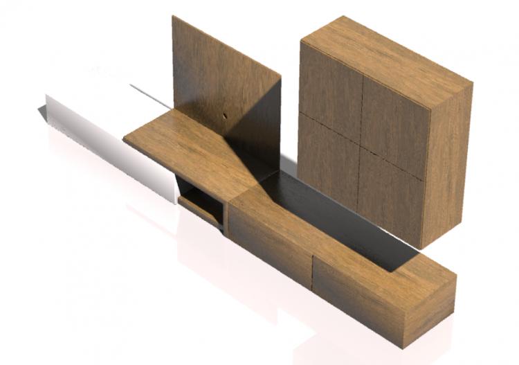 Pareti attrezzate 3D - Sistema componibile 410x215cm -...