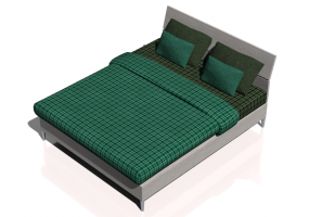 Beds and Side Cabinets 3D - Double bed 170x206cm