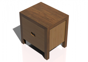 Beds and Side Cabinets 3D - 2 Drawers bedside cabinet 45x41x45cm