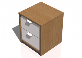Beds and Side Cabinets 3D - 2 Drawers bedside cabinet 41x41x48cm