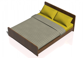 Beds and Side Cabinets 3D - Double bed 168x208cm