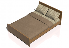Beds and Side Cabinets 3D - Double bed 147x208cm