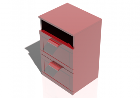 Beds and Side Cabinets 3D - 2 Drawers bedside cabinet 50x46x77cm