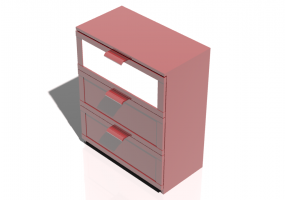 Wardrobes and Cabinets 3D - Cabinet with 3 drawers 78x45x95cm