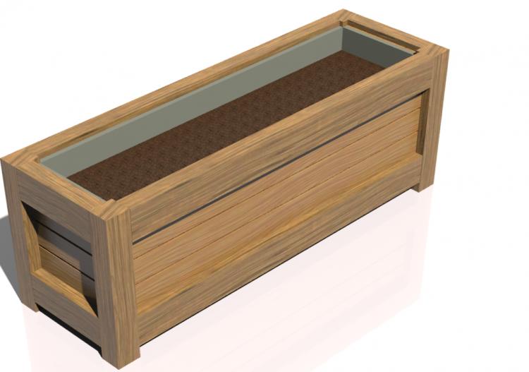 Bancos y macetas 3d arriate a pavimiento de madera para for Bancos para terraza y jardin