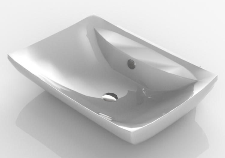 3D Waschbecken - Badezimmer-Waschbecken hängend 60x40cm -...