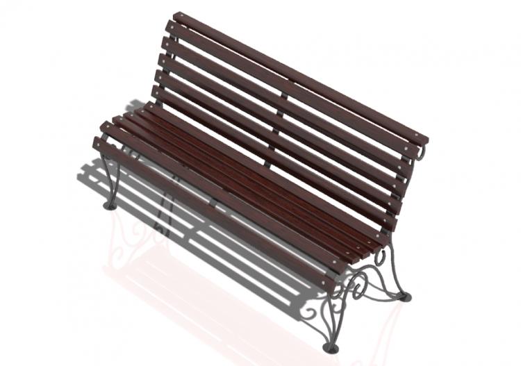Bancos y macetas 3d banco de madera y hierro 150x60x85cm for Banco de jardin de hierro y madera