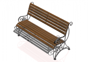 3D Benches - Metal and wooden bench 150x70x85cm - Hobbyka – Orchid