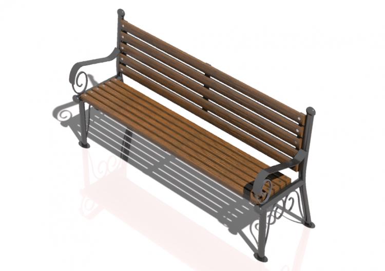 Bancos y macetas 3d banco de madera y hierro 150x57x79cm for Banco de jardin de hierro y madera