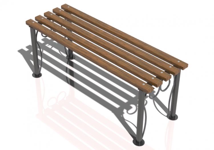 3D Sitzbänke und Pflanzengefäße - Holz- und Metallbank ohne...