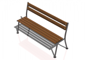 3D Benches - Metal and wooden bench 150x55x80cm - Hobbyka – Prima