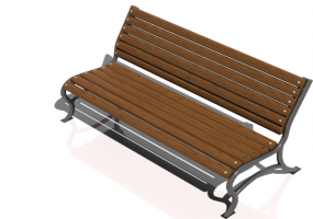 3D Benches - Metal and wooden bench 150x70x76cm - Hobbyka – Vector