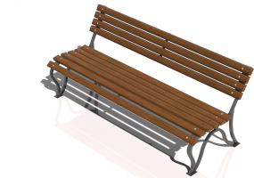 3D Benches - Metal and wooden bench 150x60x76cm - Hobbyka – Volna