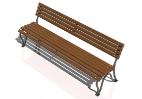 3D Benches - Metal and wooden bench 300x60x76cm - Hobbyka – Volna