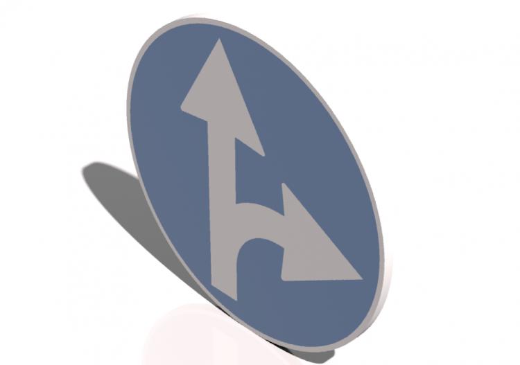 Segnaletica 3D - Vorgeschriebene Fahrtrichtung geradeaus
