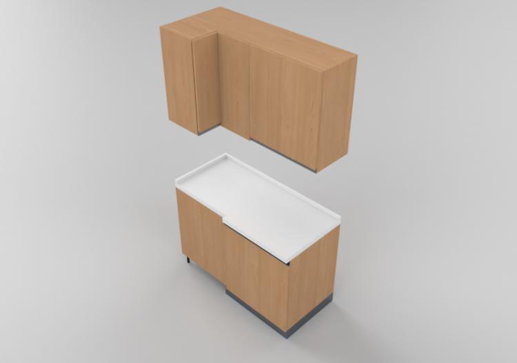 Cucine 3D - Blocco dispensa angolare 64x124x216cm - ACCA...
