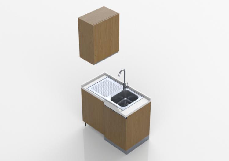 Cocinas 3d m dulo con fregadero angular 64x109x216cm for Software cocinas 3d
