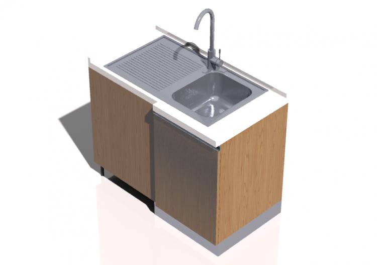Cucine 3d blocco con lavello angolare 64x109cm acca - Blocco lavello cucina ...
