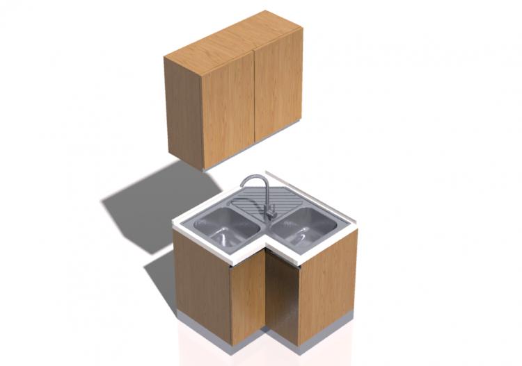 Cucine 3d blocco con lavello angolare 90x90x216cm acca - Blocco lavello cucina ...