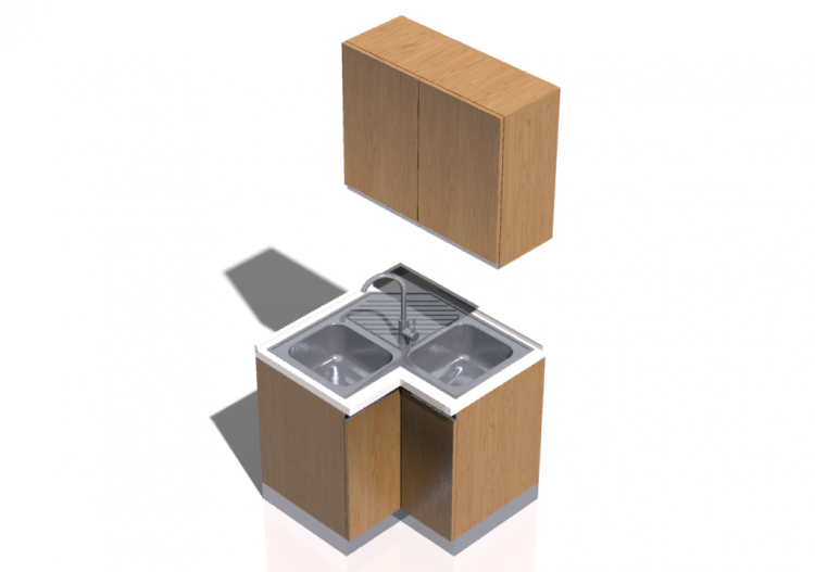 cuisine 3d bloc avec vier angulaire 90x90x216cm acca. Black Bedroom Furniture Sets. Home Design Ideas