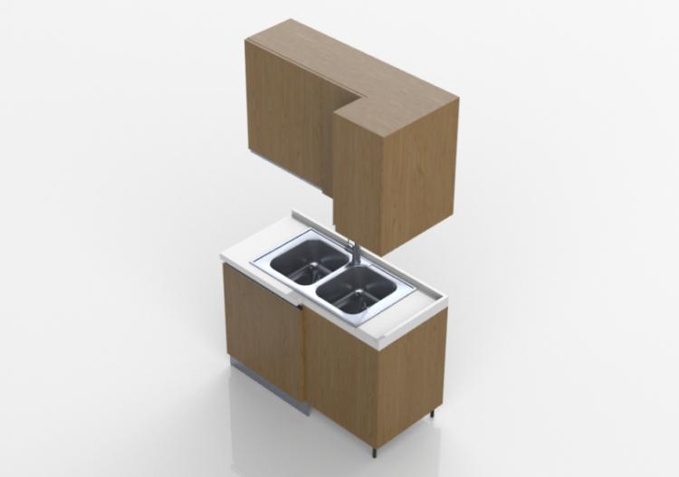 3d k chen block mit eck sp lbecken 124x64x216cm acca. Black Bedroom Furniture Sets. Home Design Ideas