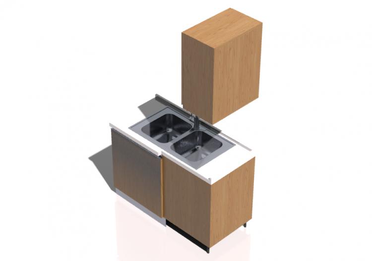 Cucine 3d blocco con lavello angolare 124x64x216cm acca - Blocco lavello cucina ...
