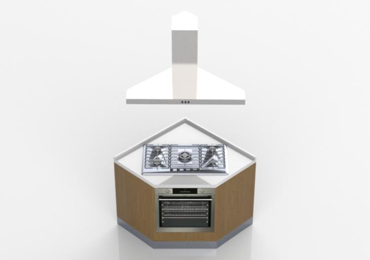 Cucine 3D   Blocco Con Piano Cottura E Forno 100x100x216cm