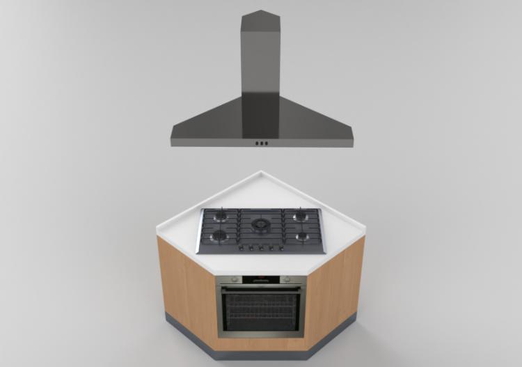 Cucine 3D - Blocco con piano cottura e forno 100x100x216cm...
