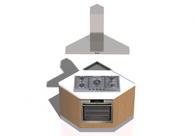 3d k chen block mit kochfeld und backofen 100x100x216cm. Black Bedroom Furniture Sets. Home Design Ideas