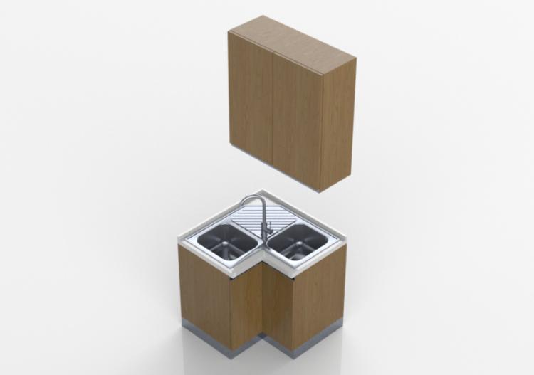 Cucine 3D - Blocco con lavello angolare 90x90x240cm - ACCA...
