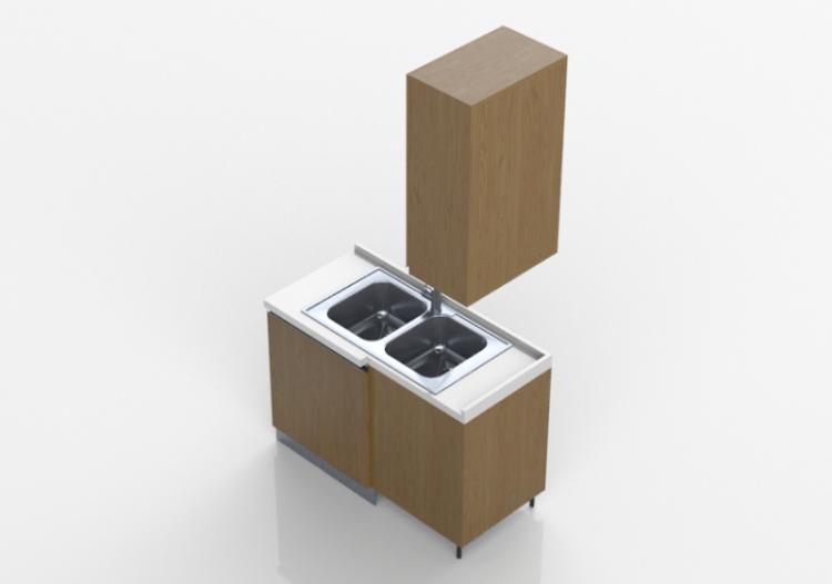Cucine 3D - Blocco con lavello angolare 124x64x240cm - ACCA...