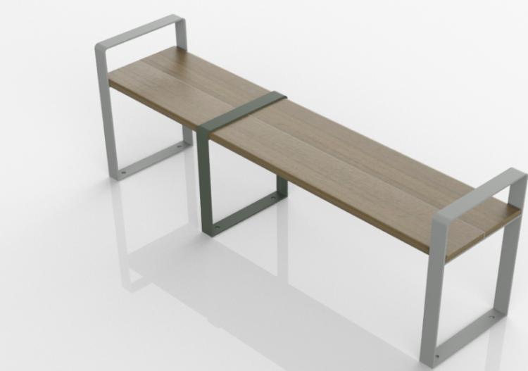 3D Sitzbänke und Pflanzengefäße - Sitzbank aus Holz und...