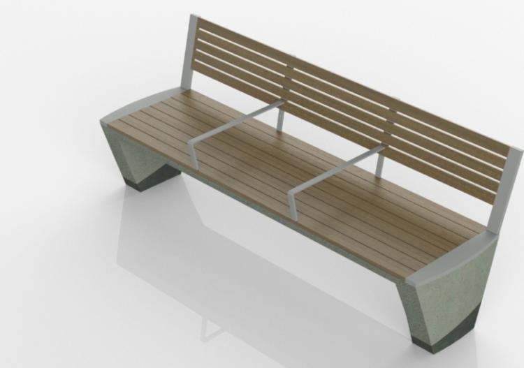 3D Sitzbänke und Pflanzengefäße - Betonbank mit Holzsitz -...