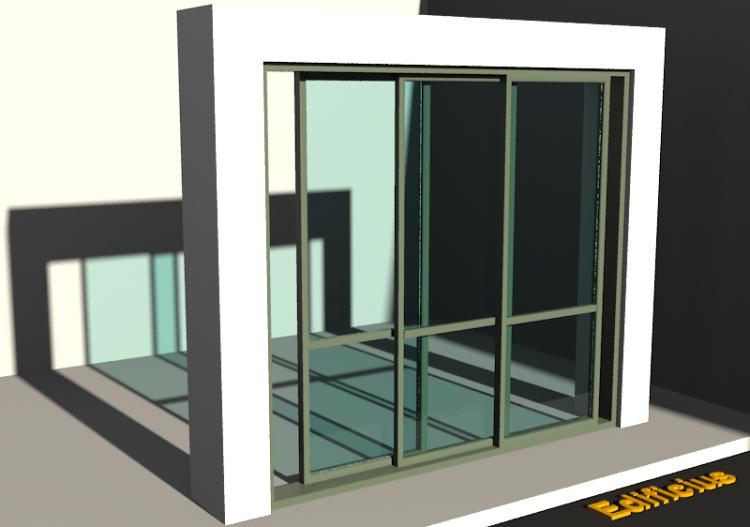 3D Tür/Fenster - porte scorrevoli due ante tutto vetro...