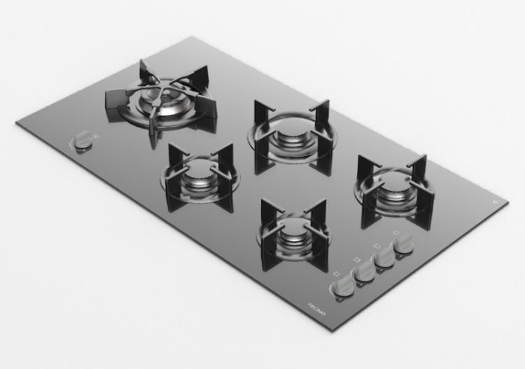 Elettrodomestici 3D - Piano cottura a gas 5 fuochi - Tecno...