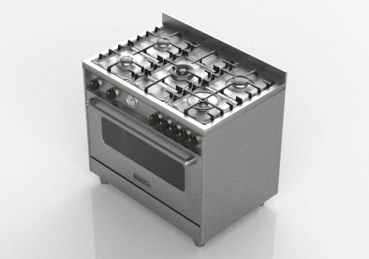 Elettrodomestici 3D   Cucina A Gas 5 Fuochi Con Forno Elettrico   Lofra    TX9D TUEL5