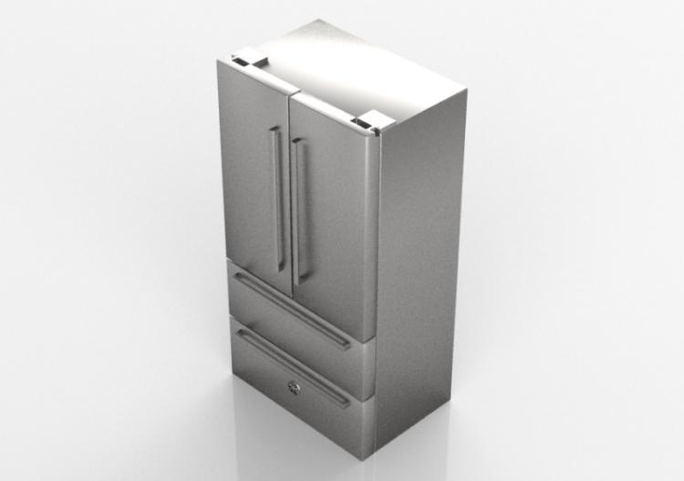 3D Haushaltgeräte - Freistehender Kühlschrank mit...