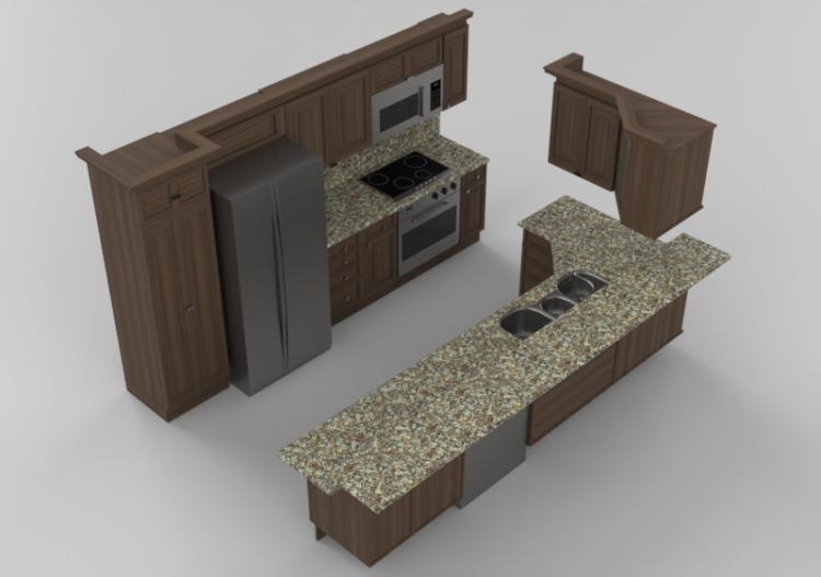 Cocinas 3d cocina completa con electrodom sticos panda - Cocina con electrodomesticos ...