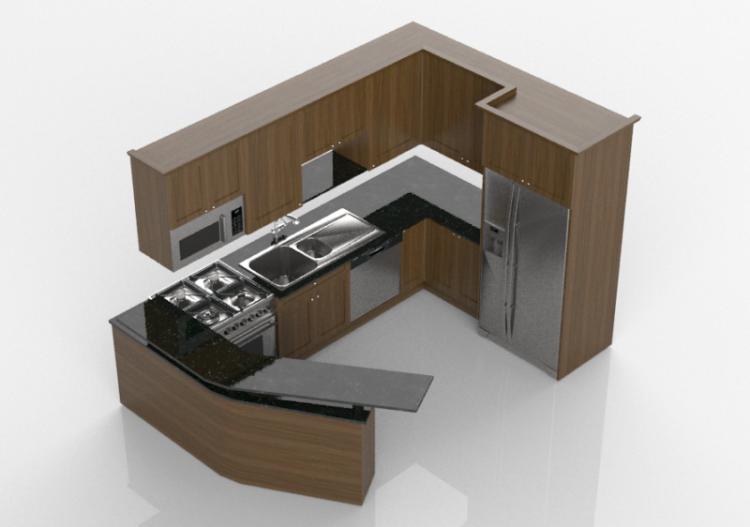 Cucine 3d cucina completa di elettrodomestici panda for Cucina in 3d