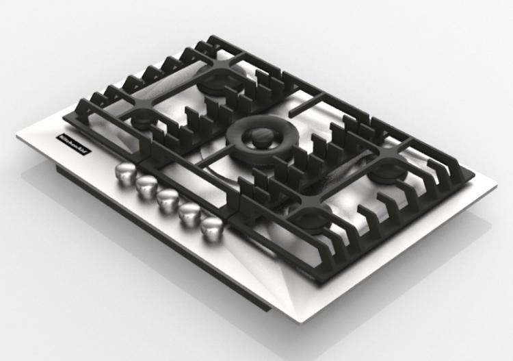 Elettrodomestici 3D - Piano cottura a gas 5 fuochi -...