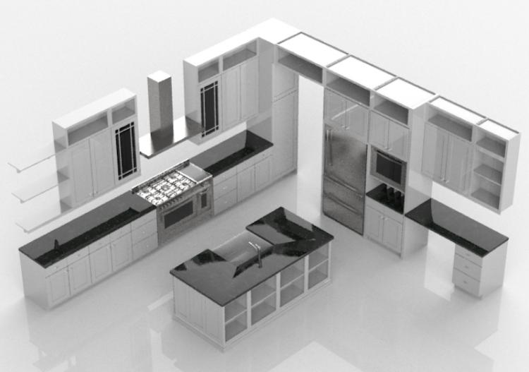 3D - Cucina completa di elettrodomestici - Merrillat...