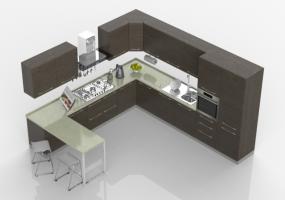 Cucine 3D - Cucina moderna completa di elettrodomestici