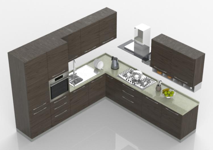 Cocinas 3d cocina moderna completa con electrodom sticos for Cocinas completas con electrodomesticos