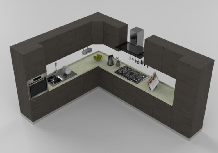 Cucina Moderna Completa Elettrodomestici.Cucine 3d Cucina Moderna Completa Di Elettrodomestici