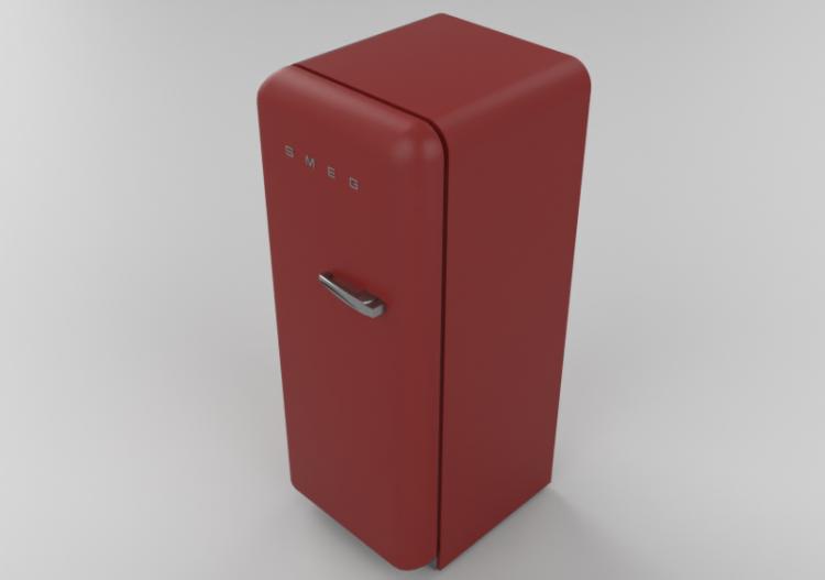 Elettrodomestici 3D - Frigorifero monoporta anni \'50, rosso...