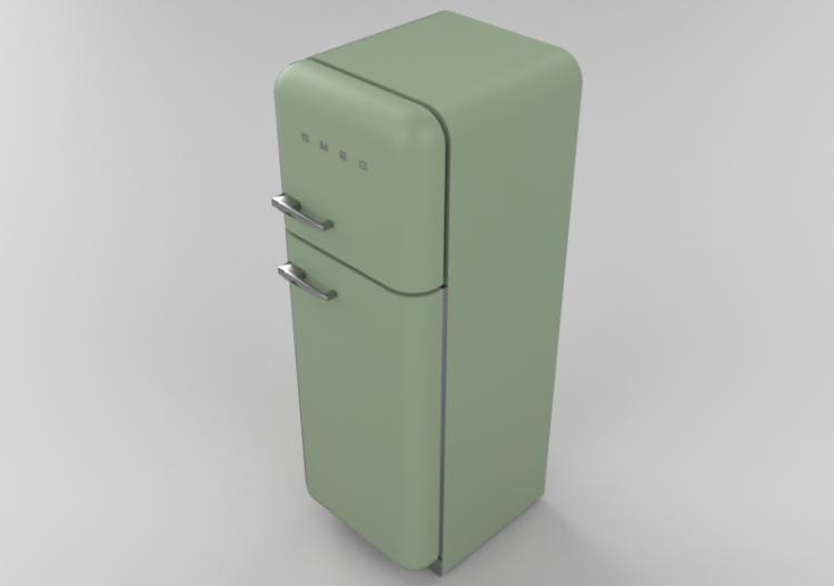 Elettrodomestici 3D - Frigorifero due porte anni \'50, verde...
