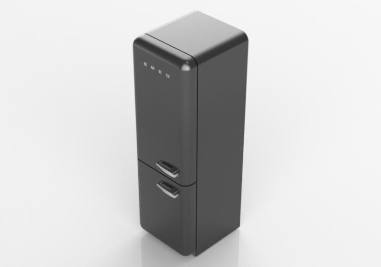 Elettrodomestici 3D - Frigorifero combinato anni \'50, nero...