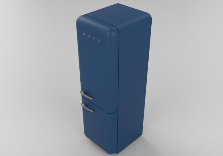 Elettrodomestici 3D - Frigorifero combinato anni \'50, blu -...