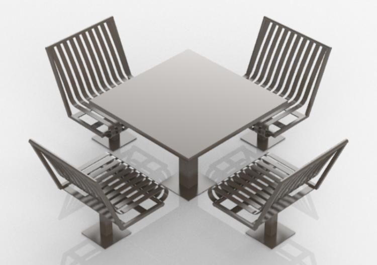 Panchine d composizione di tavolo e sedie in metallo