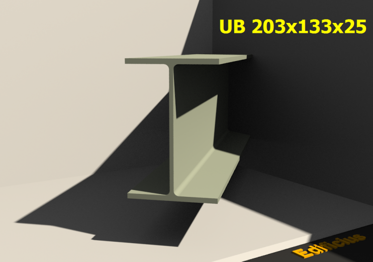 3D Profile - UB 203x133x25 - ACCA software